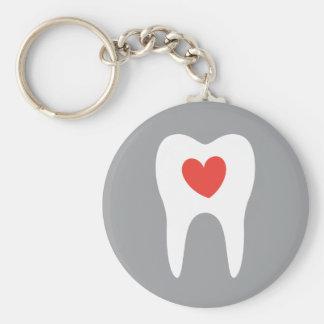 Dentiste de coeur d'amour de silhouette de dent porte-clés
