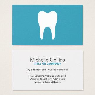 Dentiste minimaliste turquoise de dent blanche cartes de visite