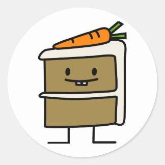 Dents de lapin de tranche de gâteau à la carotte sticker rond