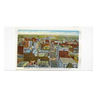 Denver du centre, carte teintée par main des année photocarte