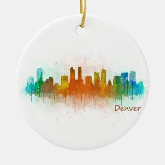Denver Rouge Ville Watercolor Skyline Hq v3 Ornement Rond En Céramique