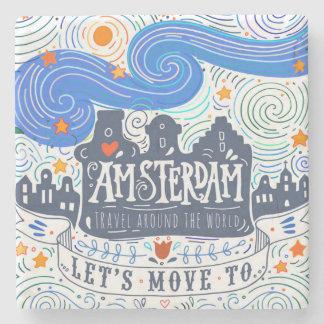 Déplaçons-nous à Amsterdam Dessous-de-verre En Pierre