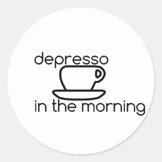 depresso dans l'autocollant de matin sticker rond