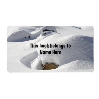 Dérives de neige au-dessus des roches étiquette d'expédition