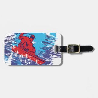 Dérives élevées de neige de Cathching de surfeur m Étiquette De Bagage