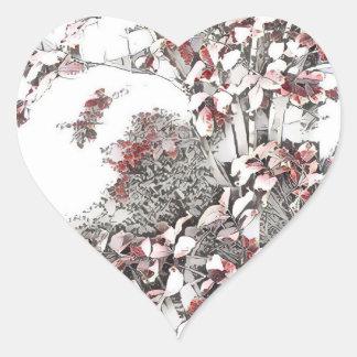 Dernier feuille sensible d'automne sticker cœur