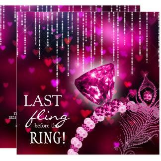 Dernier Fling avant l'anneau rose de Bachelorette Carton D'invitation 13,33 Cm