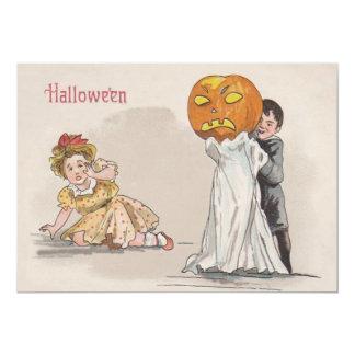Des bonbons ou un sort de fantôme de citrouille de carton d'invitation  12,7 cm x 17,78 cm