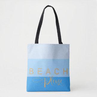 Des eaux bleues de plage scintillement frais d'or sac