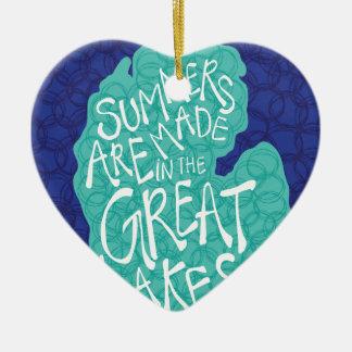 Des étés sont faits dans les Great Lakes - bleu Ornement Cœur En Céramique