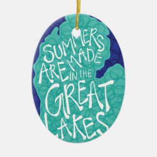 Des étés sont faits dans les Great Lakes - bleu Ornement Ovale En Céramique