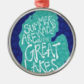 Des étés sont faits dans les Great Lakes - bleu Ornement Rond Argenté