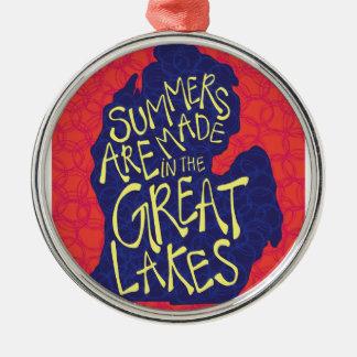 Des étés sont faits dans les Great Lakes Ornement Rond Argenté