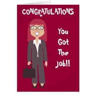 Des félicitations vous avez obtenu la femme carte de vœux