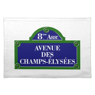 DES plaque de rue de Champs-Elysees, Paris Set De Table