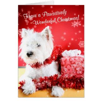 Des souhaits merveilleux de Noël de Westie - Carte De Vœux