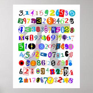 Description colorée et d'amusement de pi affiche