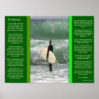 DESIDERATA surfant les affiches de vague Poster