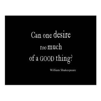 Désir trop d'une bonne citation de Shakespeare de Carte Postale