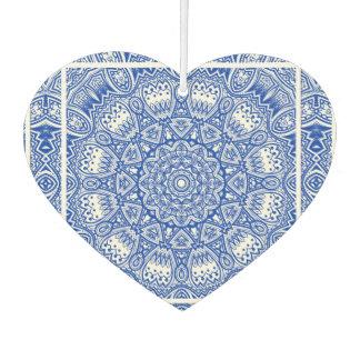 Désodorisant Pour Voiture Beau motif bleu et blanc de tuile de mandala