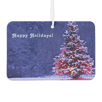 Désodorisant Pour Voiture La neige a couvert l'arbre de Noël
