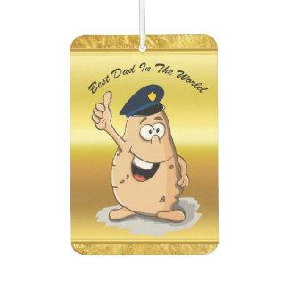 Désodorisant Pour Voiture Pomme de terre de policier avec un casquette bleu