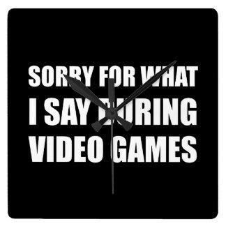 Désolé dites les jeux vidéo horloge carrée