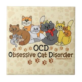 Désordre obsédant de chat d'OCD Petit Carreau Carré