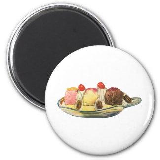 Desserts vintages de nourriture, cerises de banana magnet rond 8 cm