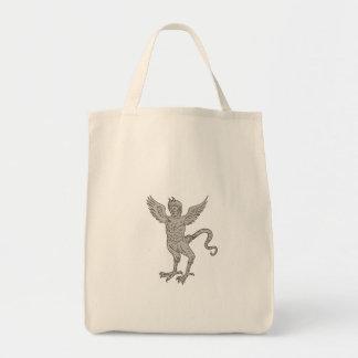 Dessin à ailes antique de monstre sacs