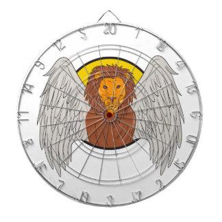 Dessin à ailes de cercle de tête de lion jeu de fléchettes