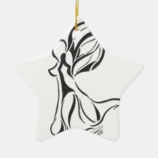 Dessin abstrait d'ange à l'encre noire sur le dos ornement étoile en céramique