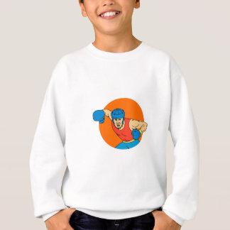 Dessin aérien de cercle de poinçon de boxeur sweatshirt