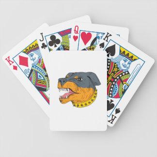 Dessin agressif de tête de chien de garde de jeu de cartes