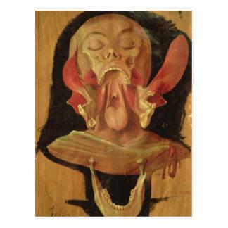 Dessin anatomique de la tête carte postale