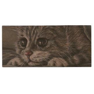 Dessin animal de chaton mignon de chat de portrait clé USB 3.0 en bois