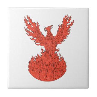 Dessin ardent en hausse de flammes de Phoenix Petit Carreau Carré