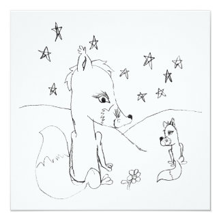 Dessin au crayon de couples d'amour de Fox Carton D'invitation 13,33 Cm