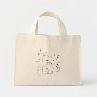 Dessin au crayon de couples d'amour de Fox Mini Tote Bag