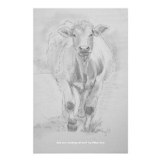 Dessin au crayon d'une vache marchant vers vous papiers à lettres