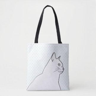 Dessin au trait chat avec le pois tote bag