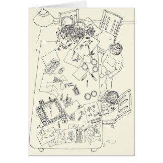 Dessin au trait drôle famille de désordre créatif cartes