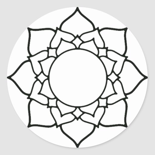 Dessin au trait mandala de fleur de lotus sticker rond zazzle - Fleur de lotus dessin ...