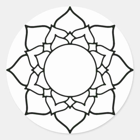 Dessin au trait mandala de fleur de lotus sticker rond - Fleur de lotus mandala ...