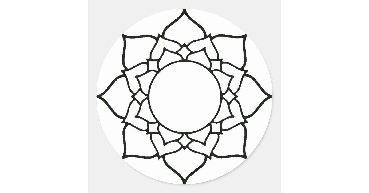 Dessin Au Trait Mandala De Fleur De Lotus Sticker Rond