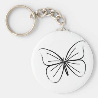 Dessin au trait simple papillon porte-clé rond