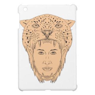 Dessin aztèque femelle de coiffe de Jaguar de Coque Pour iPad Mini