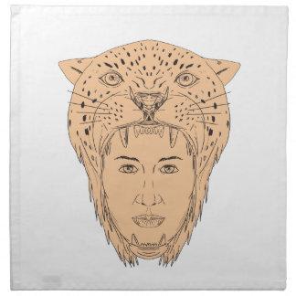 Dessin aztèque femelle de coiffe de Jaguar de Serviettes En Tissus