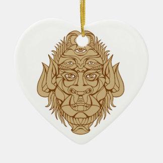 dessin Cinq-eyed de tête de monstre Ornement Cœur En Céramique