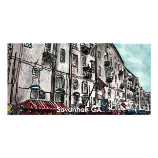 Dessin d'art de rue de rivière de la Géorgie de la Cartes De Vœux Avec Photo